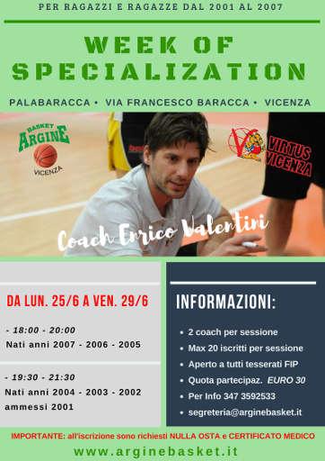 Torna la settimana di specializzazione con Coach Enrico Valentini