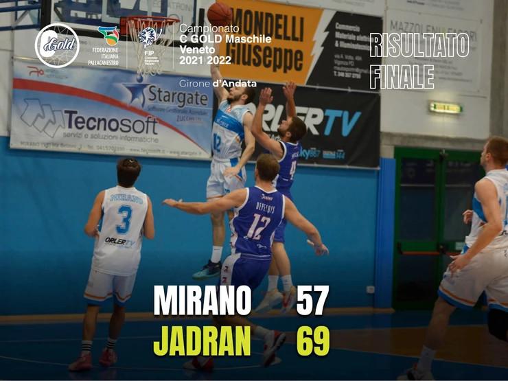 Jadran ha una marcia in più, Mirano si deve arrendere 57-69