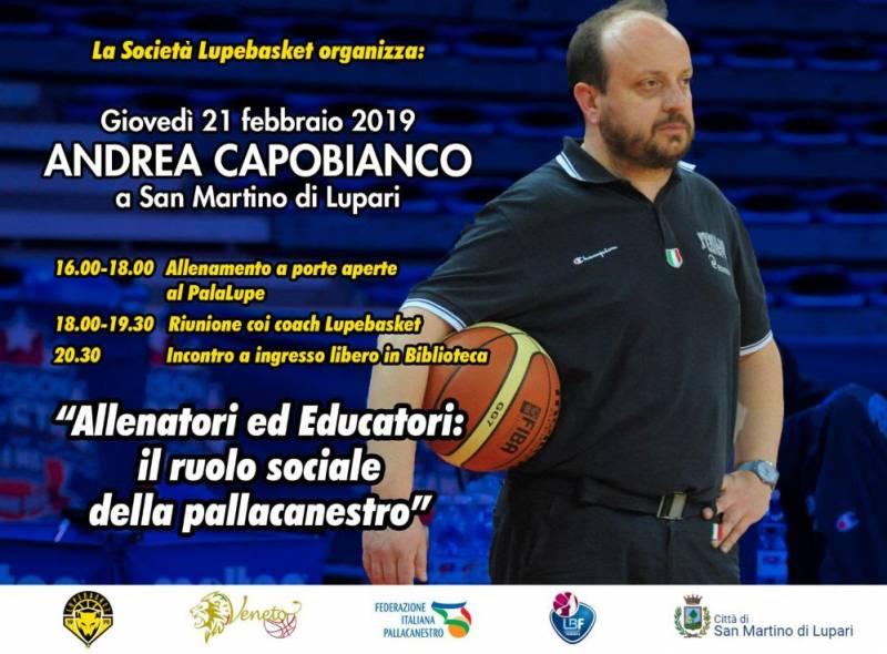 Andrea Capobianco a San Martino di Lupari il 21 febbraio, allenamento e serata aperti a tutti