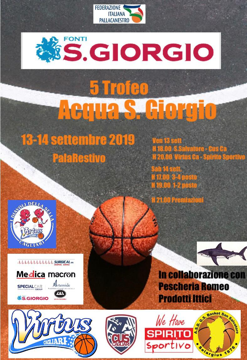 """Il 13 e 14 settembre a Cagliari il Trofeo """"Acqua San Giorgio"""" 2019"""