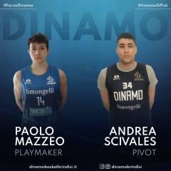 La Dinamo Basket Brindisi acquista a titolo definitivo i giovani Mazzeo e Scivales